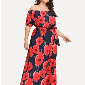 New!! Floral dress with drawstring belt